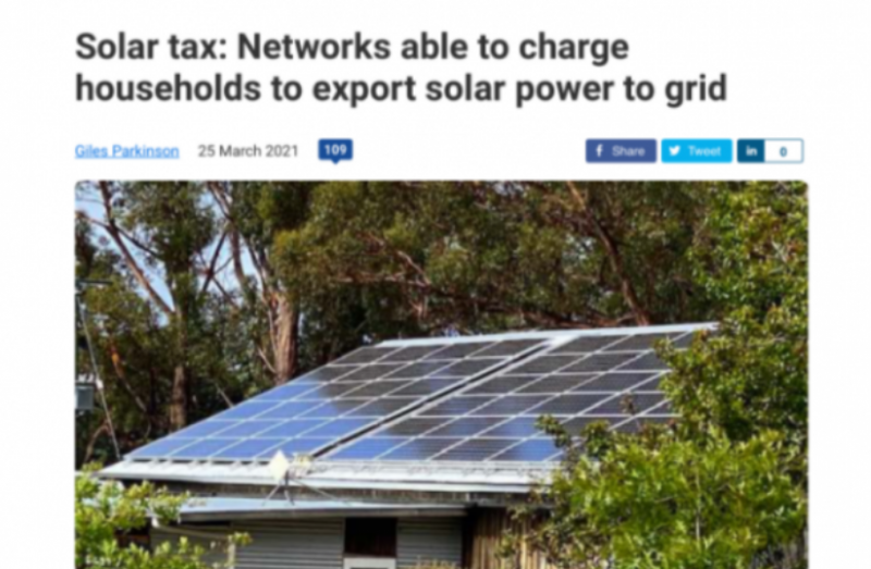 Solar Tax Networks able to charge households to export solar power to grid